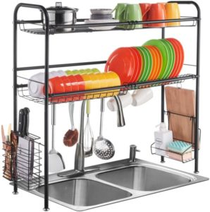 2-Tier Large Stainless Steel Sink Dish Drainer