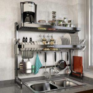 2 Tier Stainless Steel Large Storage Adjustable Kitchen Dish Rack