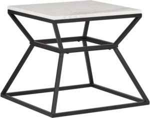Rivet Mid-Century Modern White Marble and Metal Side End Table