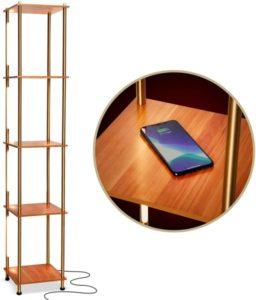 Metal Shelf Floor Lamp w. Wireless Charging Station