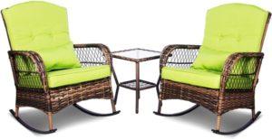 3 Pieces Patio Conversation Set Wicker Rocking chairs