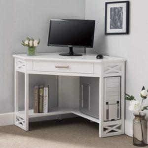 KD Furnishings White Wood Corner Computer
