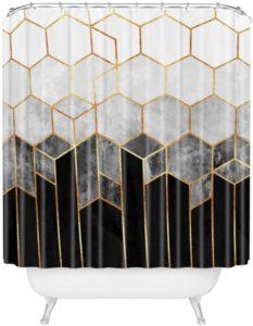 Society6 69785-shocur Elisabeth Fredriksson Charcoal Hexagons Shower Curtain