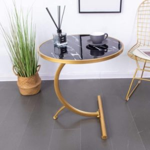 C Shaped Wooden Marble Coffee Table