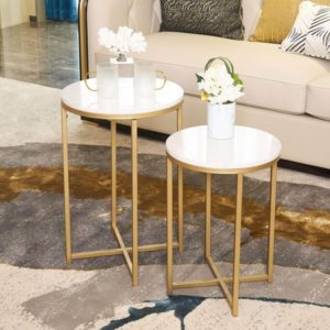 Round Side End Table with Marble Top&Gold Base
