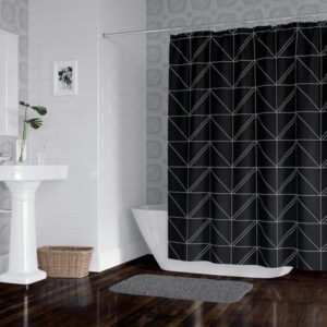 Horizon Home Essentials Modern Luxury Geometric Shower Curtain for Bathroom